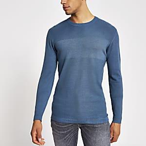 Blauwe gebreide slim-fit top met lange mouwen