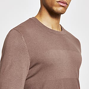 Roze gebreide slim-fit top met lange mouwen