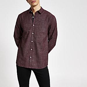 Donkerrood slim-fit overhemd met lange mouwen en textuur