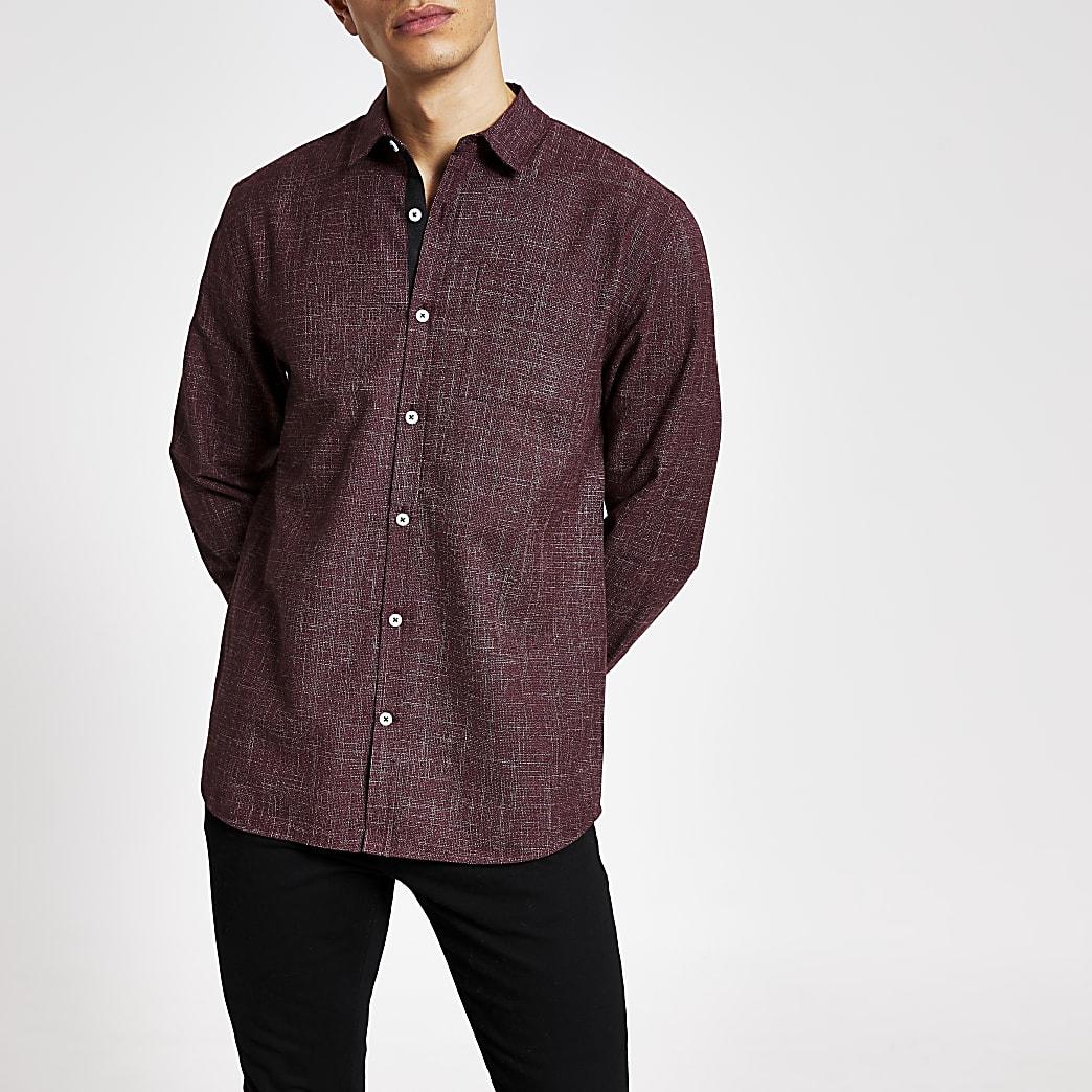 Dark red textured long sleeve slim fit shirt