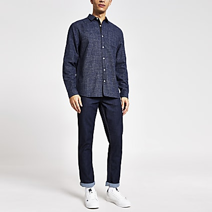 Navy textured long sleeve slim fit shirt