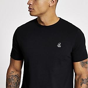 R96 - Zwart slim-fit T-shirt met korte mouwen