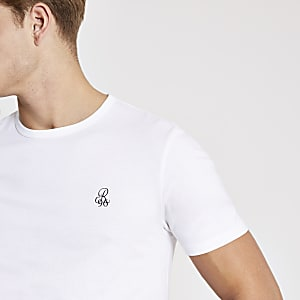 R96 - Wit slim-fit T-shirt met korte mouwen