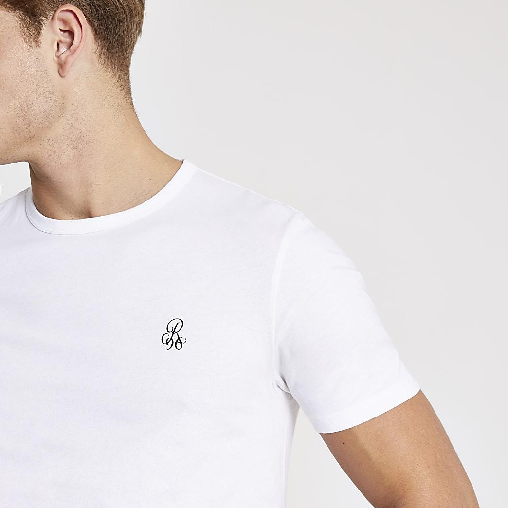 R96 white short sleeve slim fit T-shirt