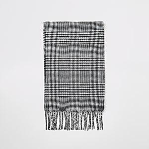 Écharpe noire motifs pied-de-poule, à carreaux et à franges