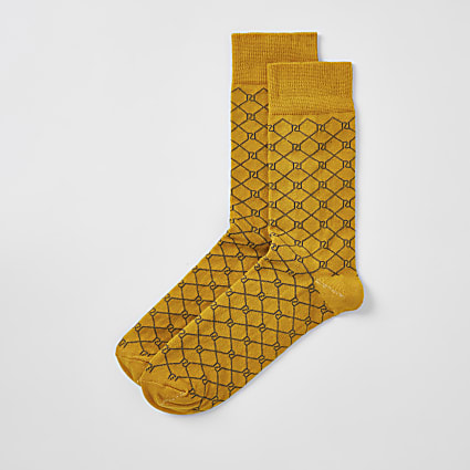 Yellow RI monogram socks