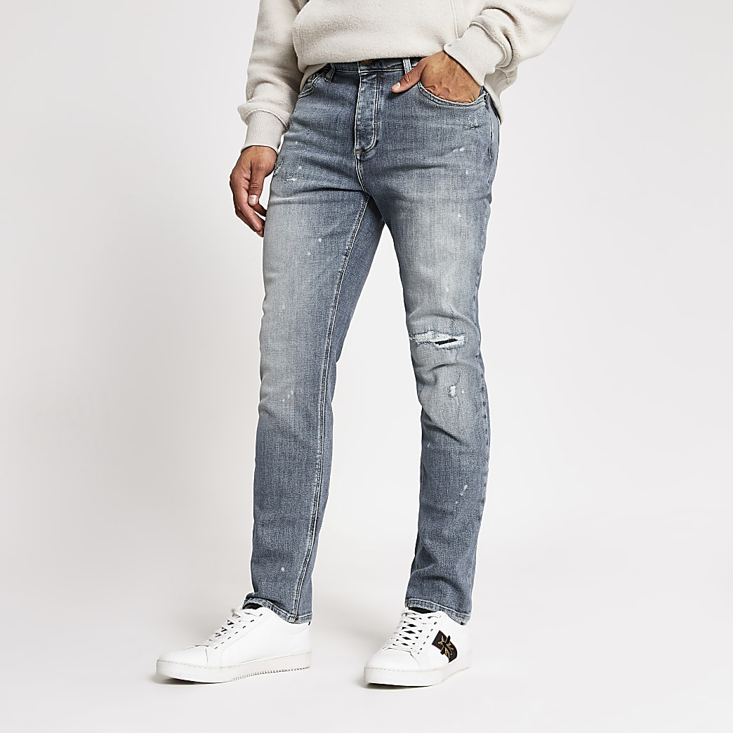 Dylan - Blauwe ripped slim-fit jeans
