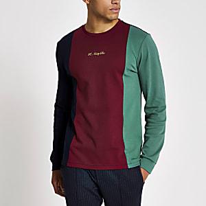 R96 – Langärmeliges marineblaues T-Shirt in Blockfarben