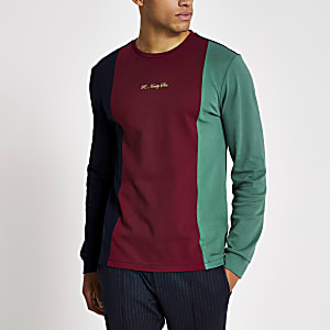 R96 - Marineblauw T-shirt met kleurvlakken en lange mouwen