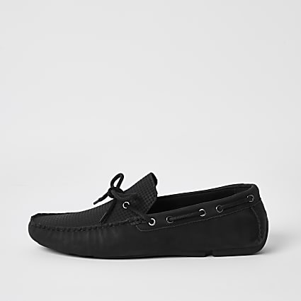 Black tie front embossed driver shoes
