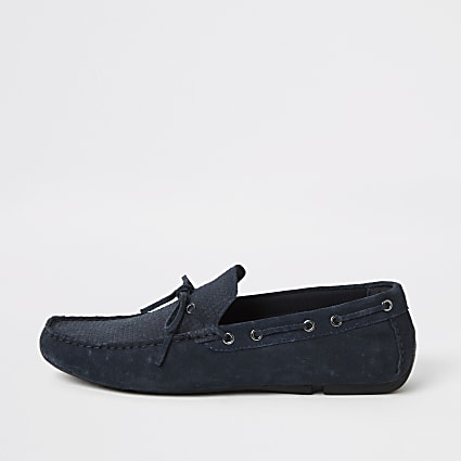 Navy suede embossed tie front driver shoes