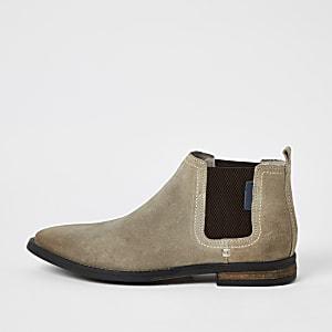 Steingraue Chelsea-Stiefel aus Wildleder