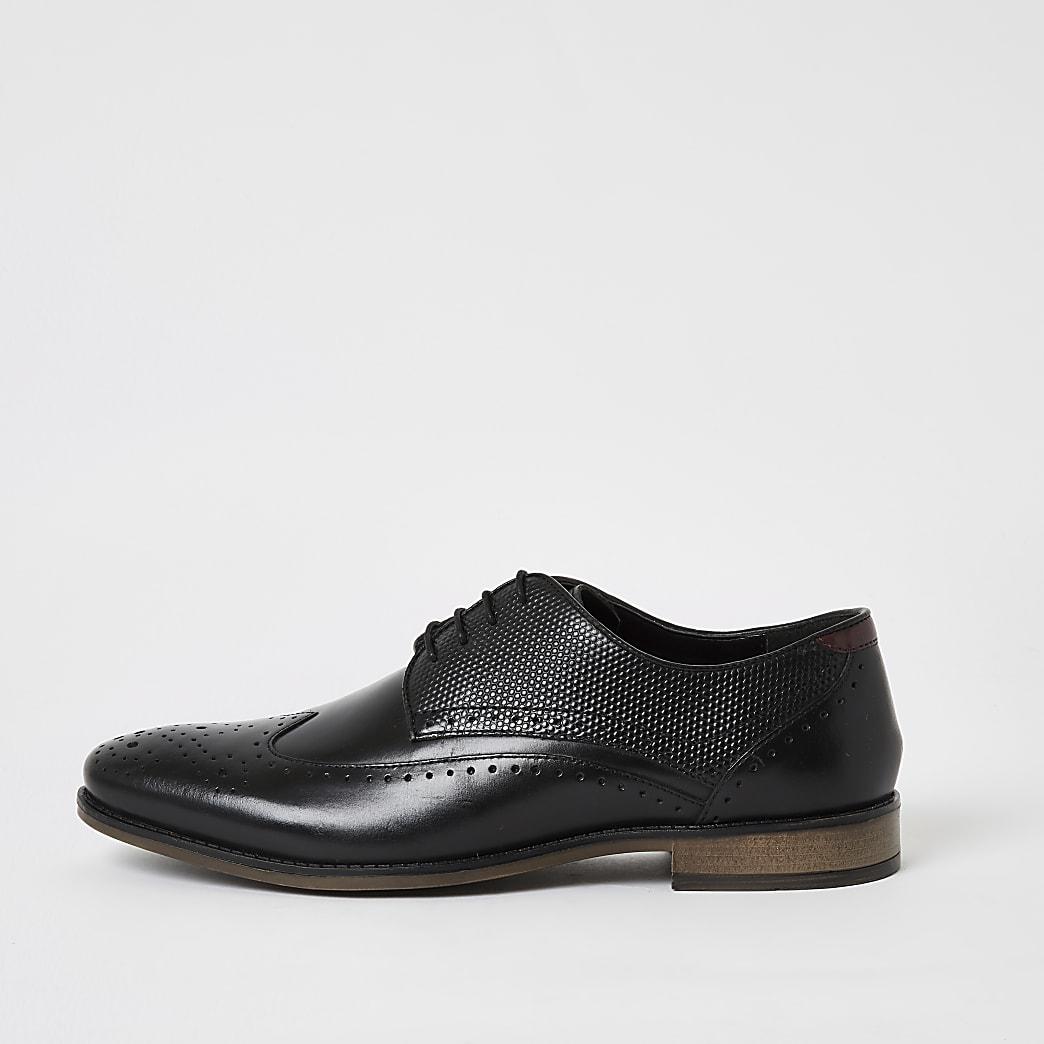 Richelieus à lacets en cuir noirestampé