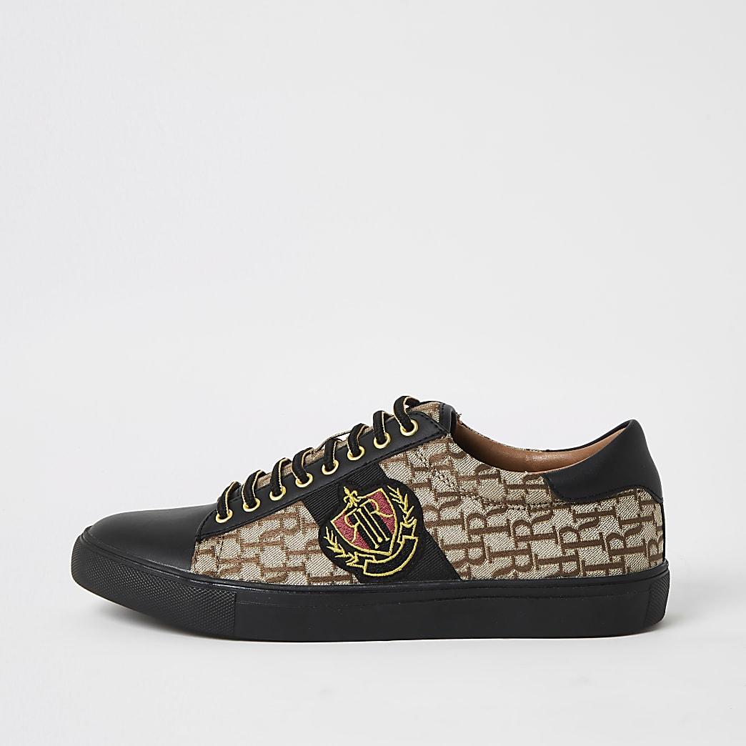Bruine jacquard sneakers met vetersluiting en RI-print