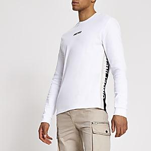 Undefined – Weißes Slim Fit T-Shirt mit seitlichem Tape