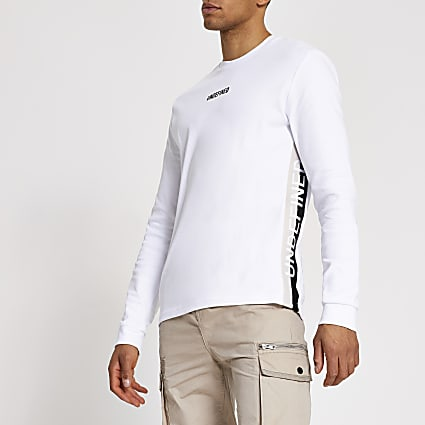 White 'Undefined' tape side slim fit T-shirt