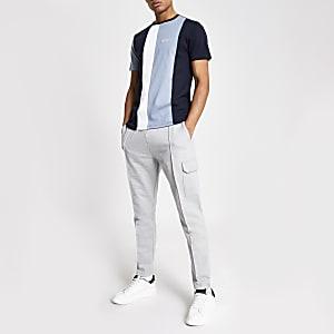 Blauw slim-fit T-shirt met kleurvlakken