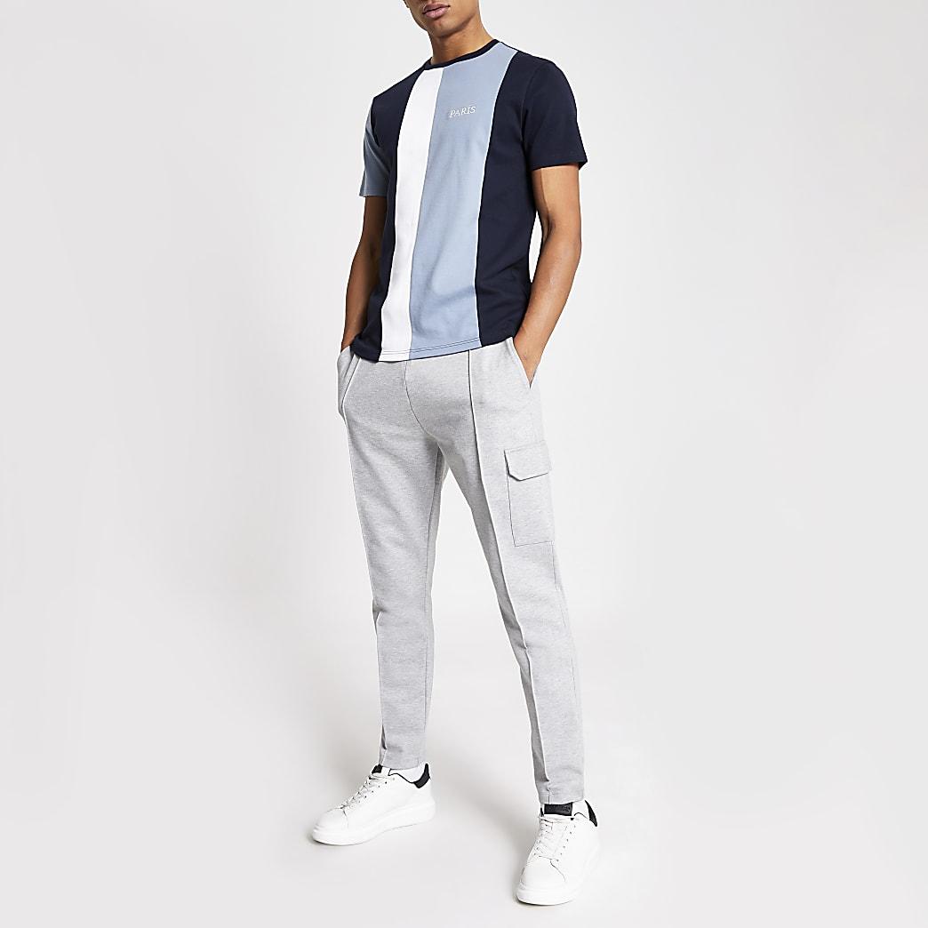 Blue colour blocked slim fit T-shirt
