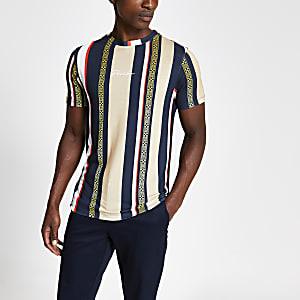 Braunes Muscle Fit T-Shirt mit Prolific-Streifen