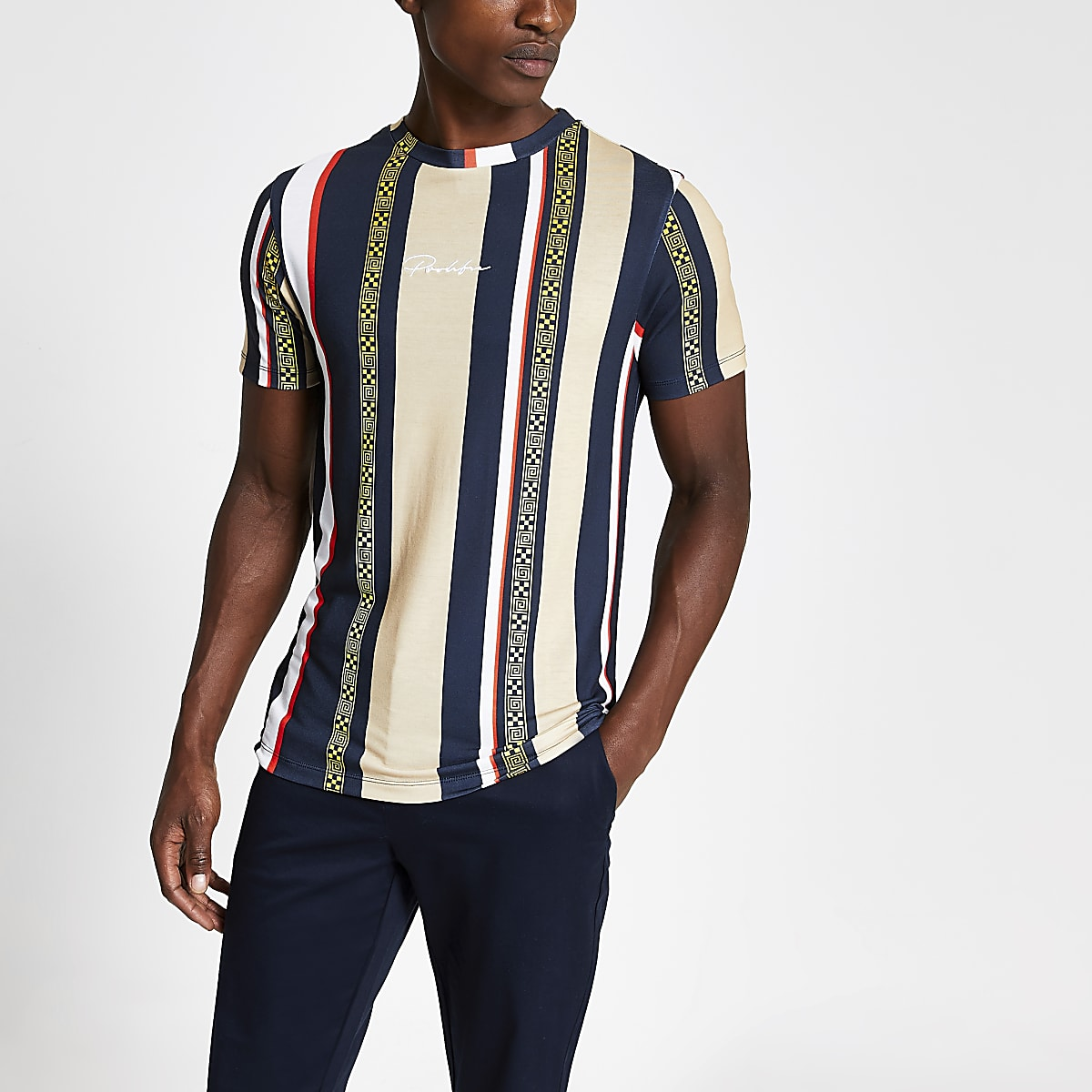 Brown Prolific stripe muscle fit T-shirt