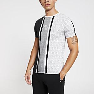 """Weißes Muscle Fit T-Shirt """"Maison Riviera"""" mit Riviera-Monogramm"""