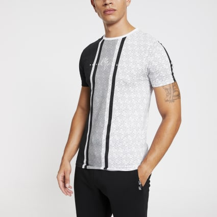 White Maison Riviera mono muscle fit T-shirt