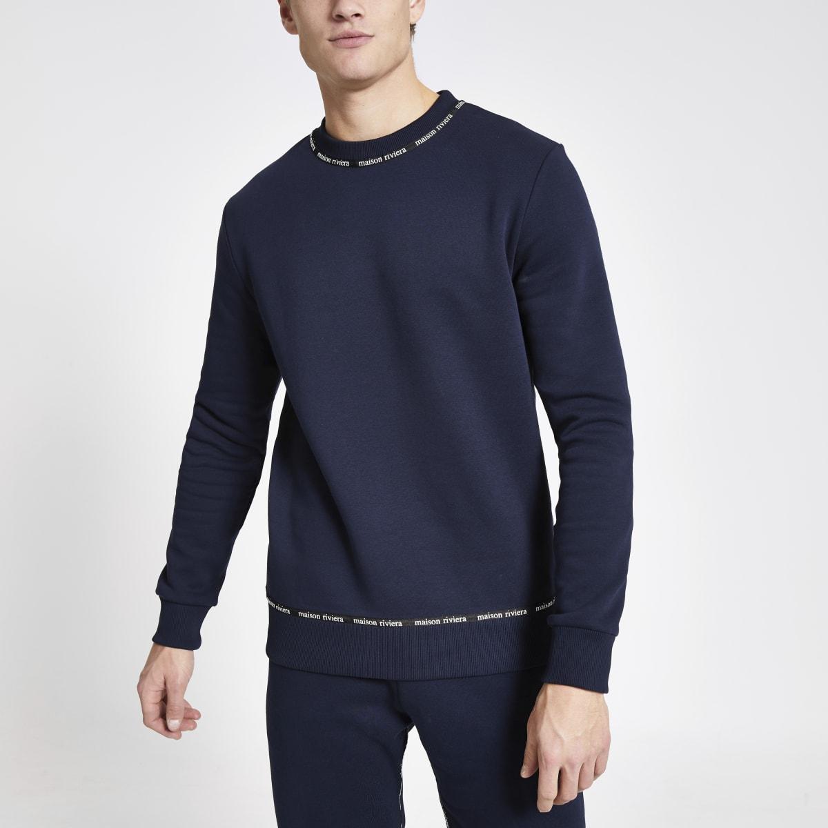 Maison Riviera navy tape slim fit sweatshirt