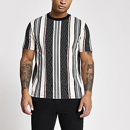 Black aztec stripe slim fit T-shirt