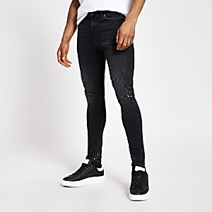 Donkergrijze ripped spray-on Ollie jeans