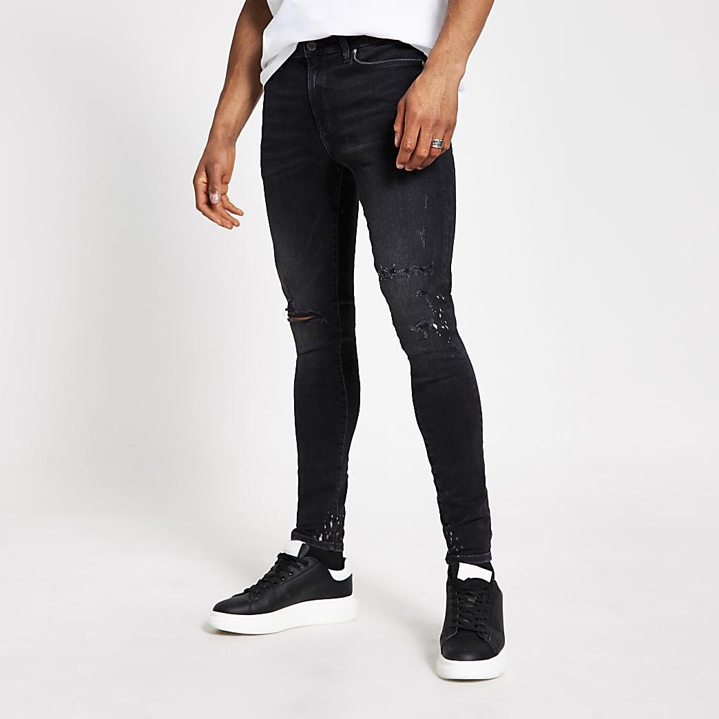 Dunkelgraue Ollie Spray-on-Jeans im Used-Look