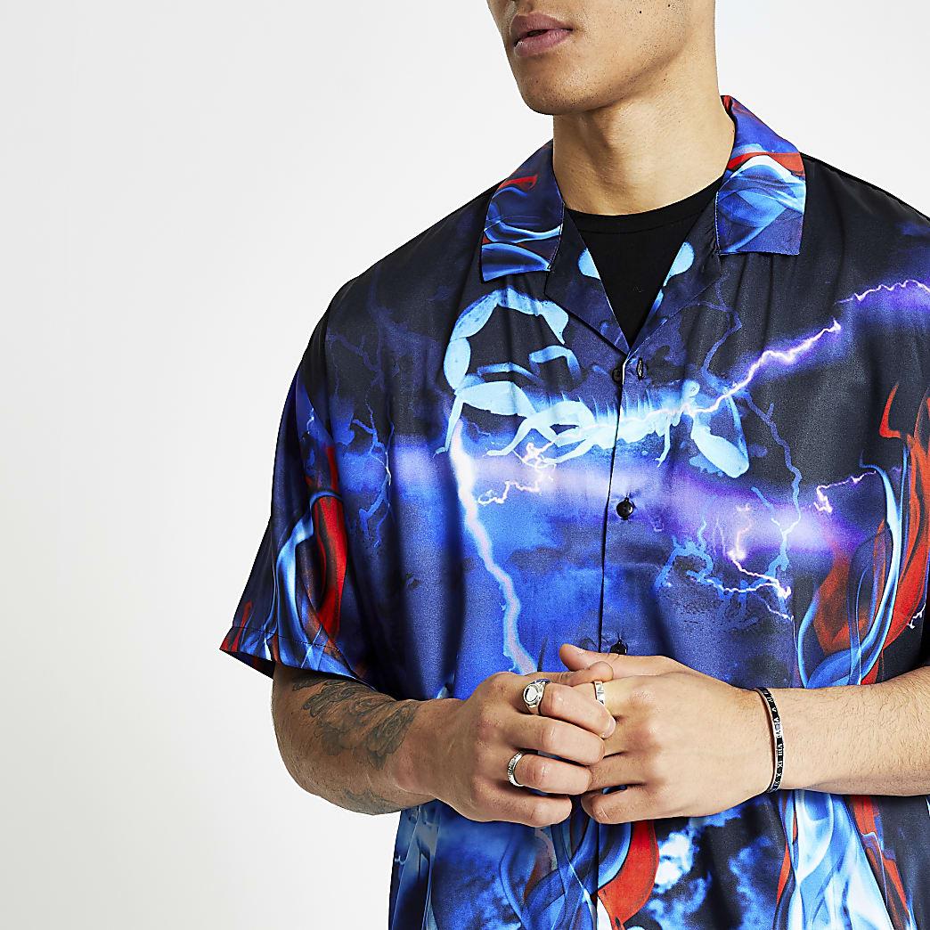 Jaded London black scorpion print shirt