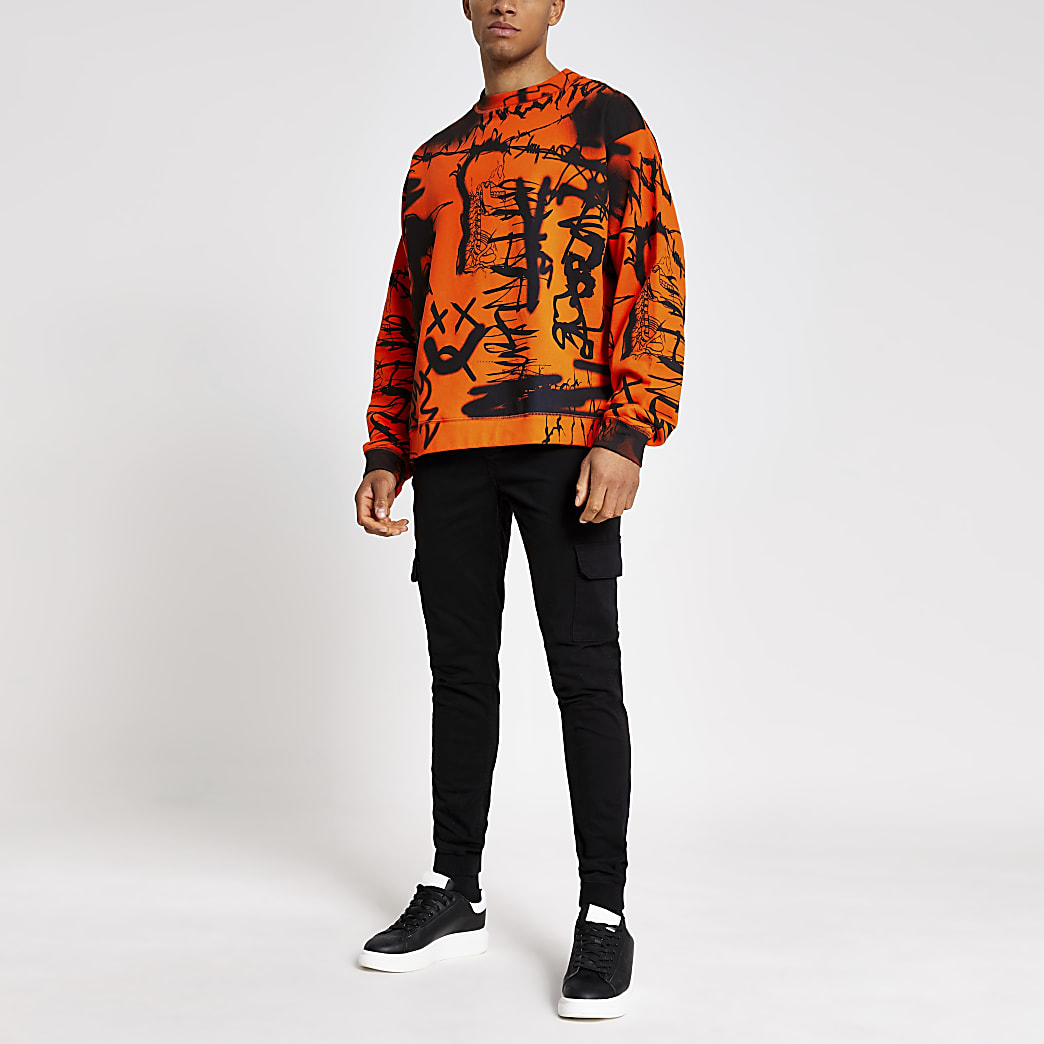 Jaded London orange graffiti sweatshirt