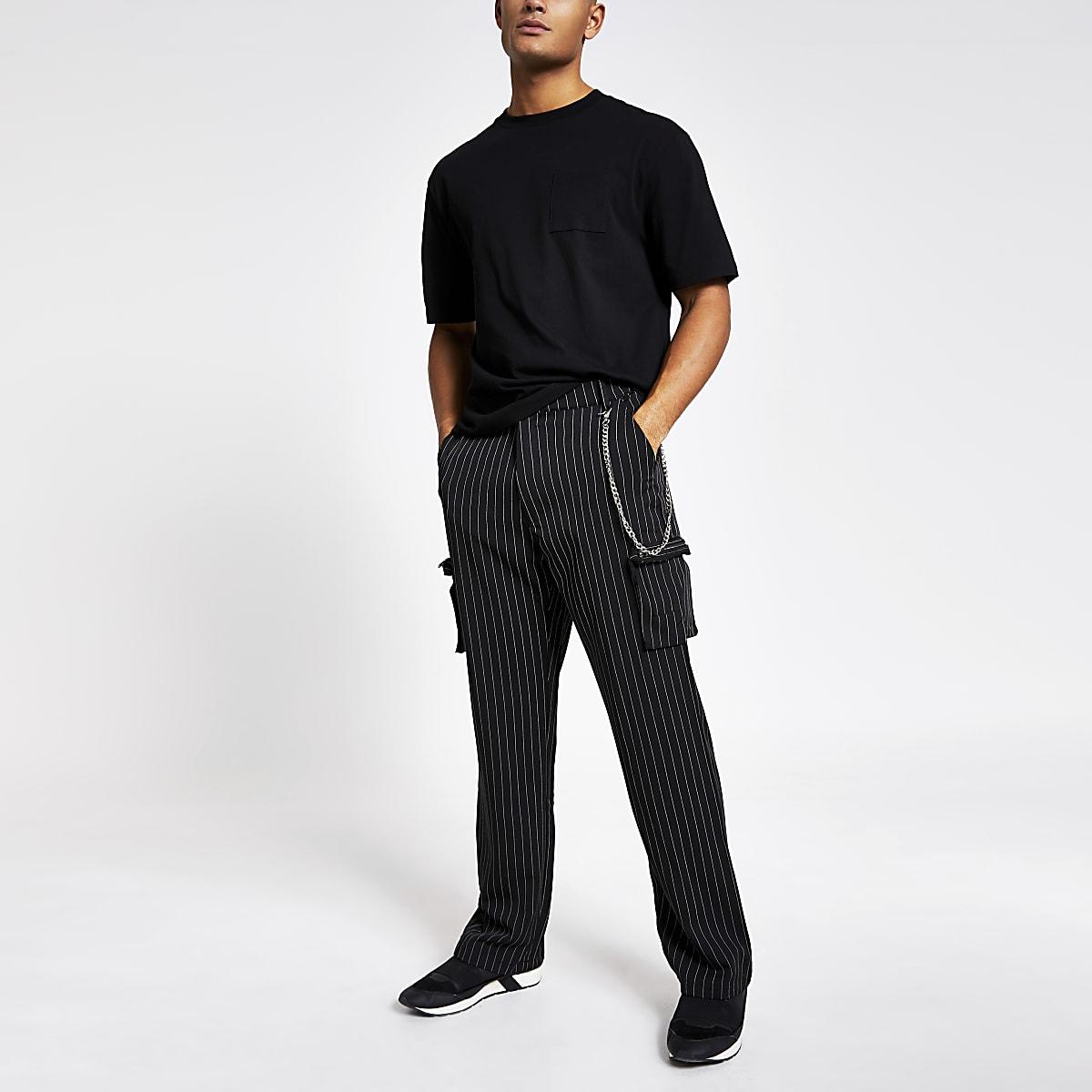 Jaded London black pinstripe cargo trousers