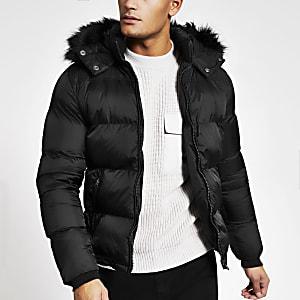 Schott – Gefütterte Jacke in Schwarz mit Kunstfellkapuze