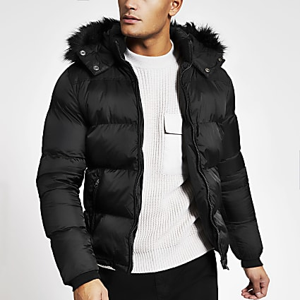 Schott black padded faux fur hood jacket