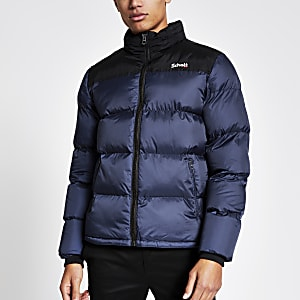 Schott – Gefütterte Jacke in Blau mit Colour-Block