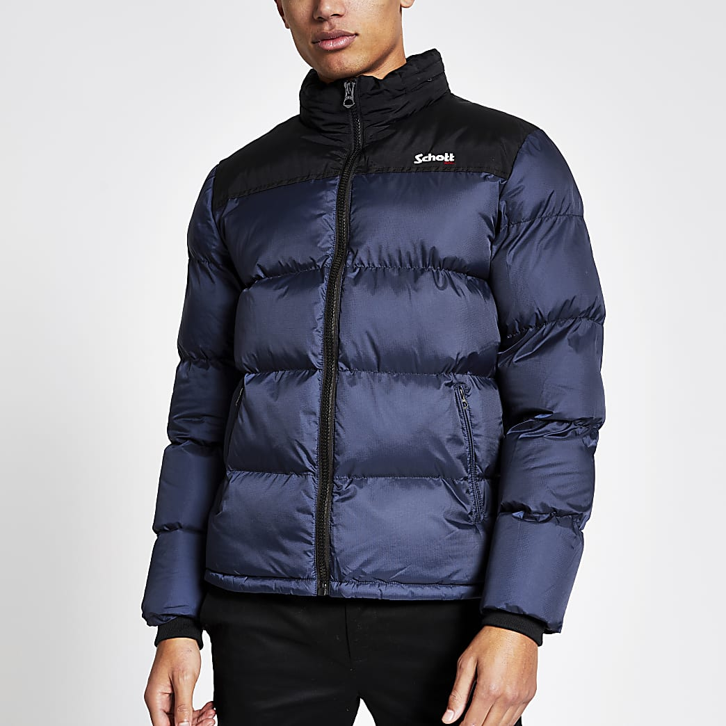 Schott blue colour block padded jacket