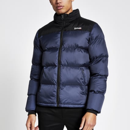 Schott blue colour block padded jacket
