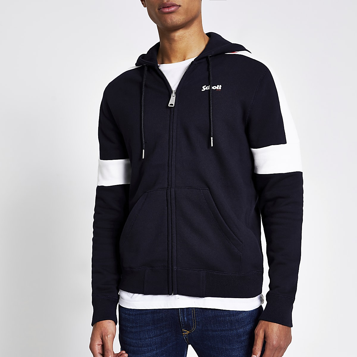 Schott navy colour block zip front hoodie