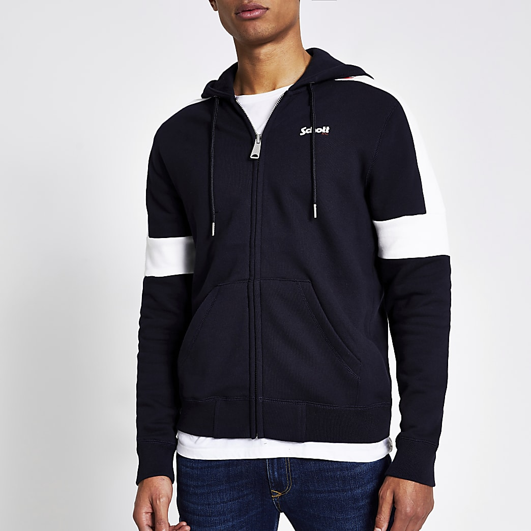 Schott - Sweat à capuche zippé bleu marine colour block