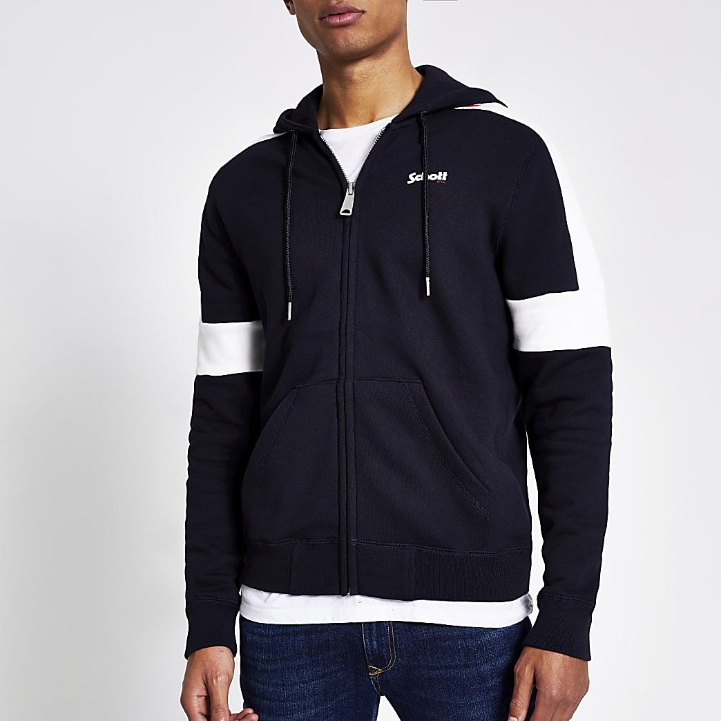 Schott - Marineblauwe hoodie met rits voor en kleurvlak