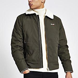 Schott – Jacke mit Borg-Kragen in Khaki