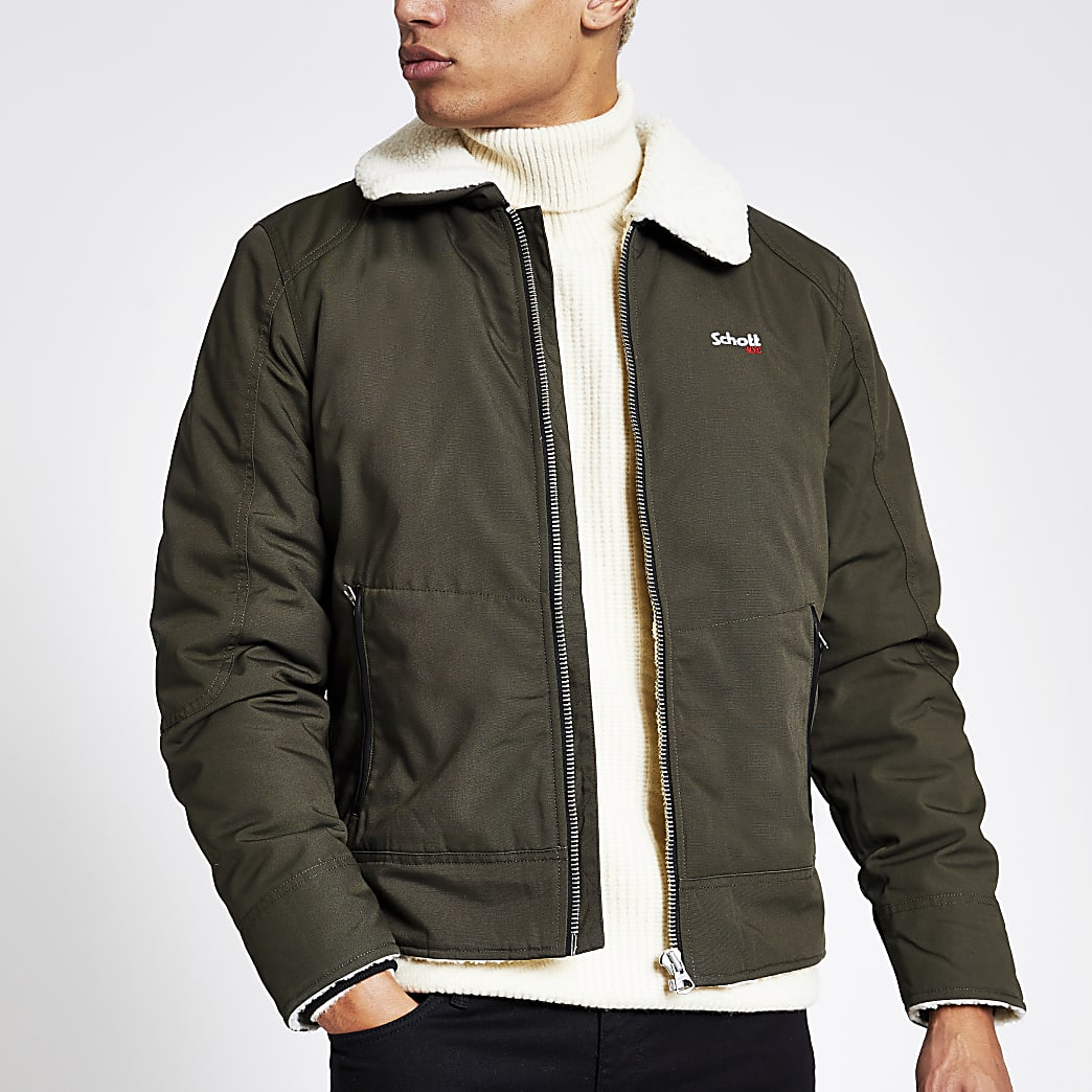 Schott khaki borg collar jacket