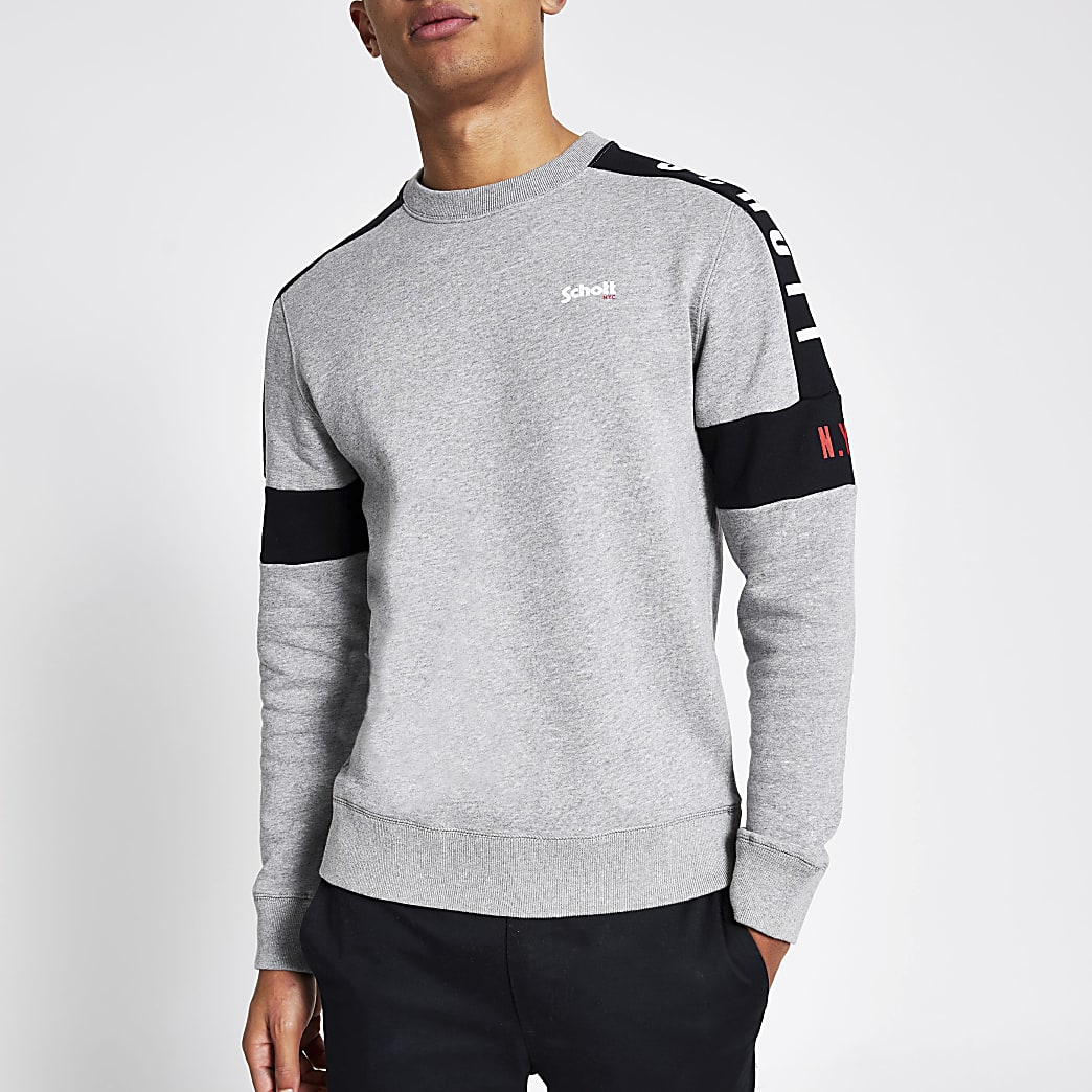 Schott grey colour blocked sweatshirt