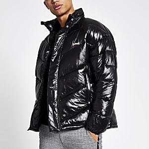 Schott - Zwarte nylon gewatteerde jas