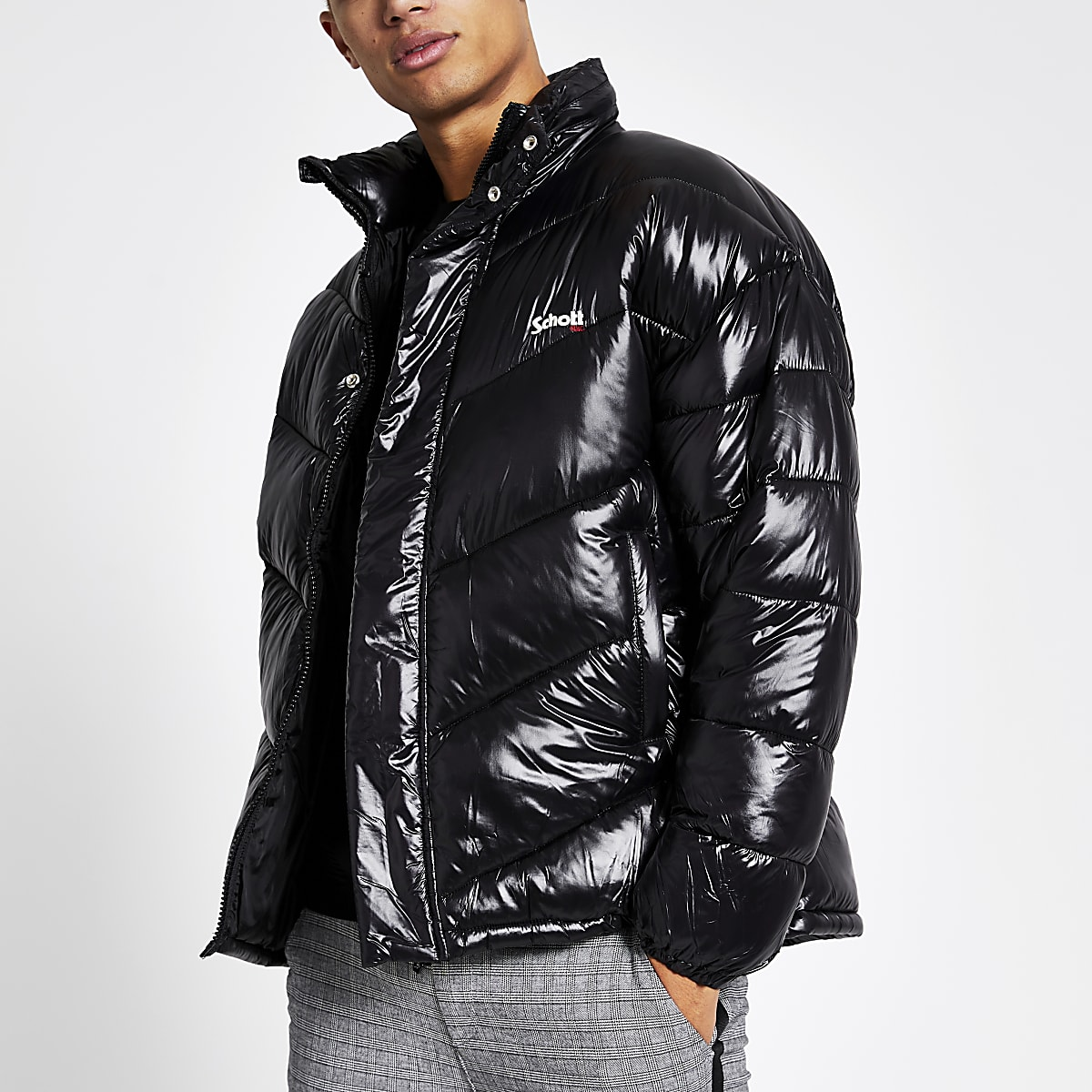 Schott black nylon padded jacket