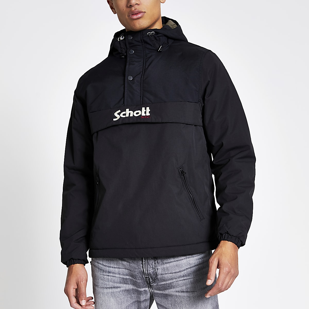 Schott black logo anorak jacket
