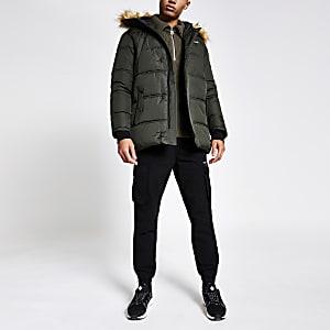 Schott – Gefütterte Jacke in Khaki mit Kunstfellkapuze