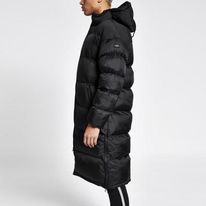 Schott black padded longline hooded coat