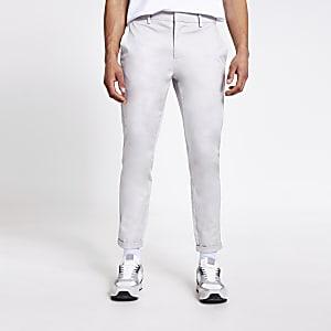 Pantalon chino gris clair coupe skinny